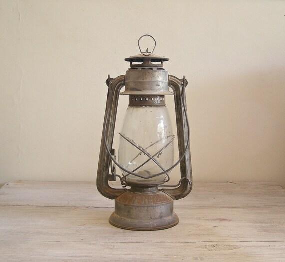Antique Lantern Lamp, Vintage rusted Railroad Lamp