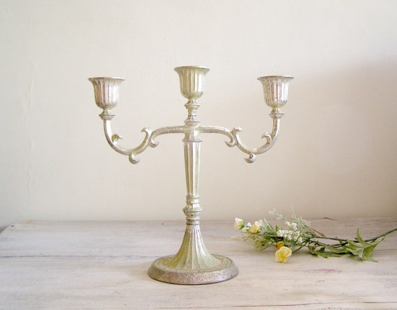 Vintage Rustic Candelabra,  Romantic  traditional Candle holder, shabby chic home decor, mid century house ware