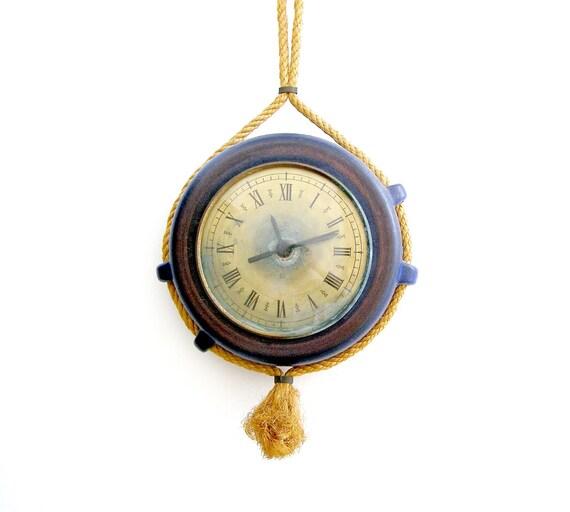 Vintage Nautical Clock, Blue sailing clock, Boating decor, man office, mid century housewares
