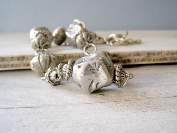 Chunky Boho Necklace, Vintage silver tone retro Necklace