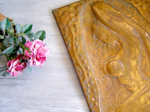 Copper Nude art, Vintage Hummered out folk art of a woman