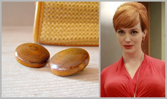 Brown Buttons clip Earrings, Vintage Retro wood earrings, Mid century jewelry, mad men fashion, retro style, clip earrings, autumn, winter