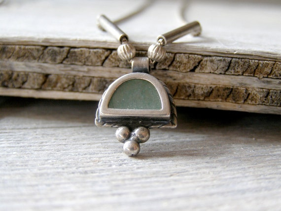 Sterling silver Necklace, Vintage silver and glass pendant necklace