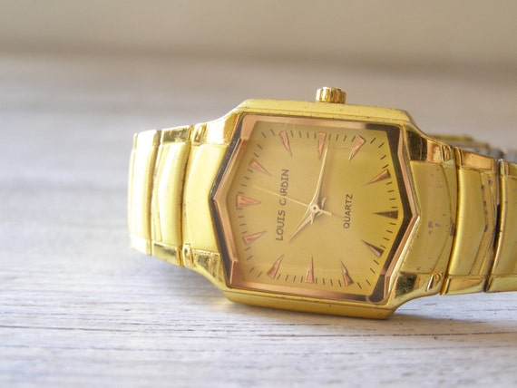 Vintage Man Watch, golden shade Mechanical watch,  mid century for man , retro mad men style