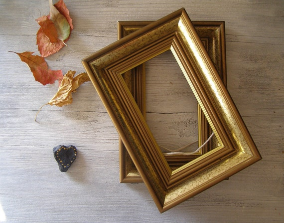 Vintage wood Frames, Gold shade and brown wood frames