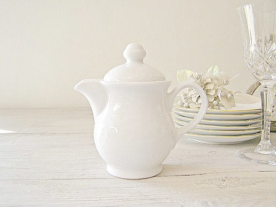 White Cream Pitcher, Vintage Porcelain small pitcher made in Israel