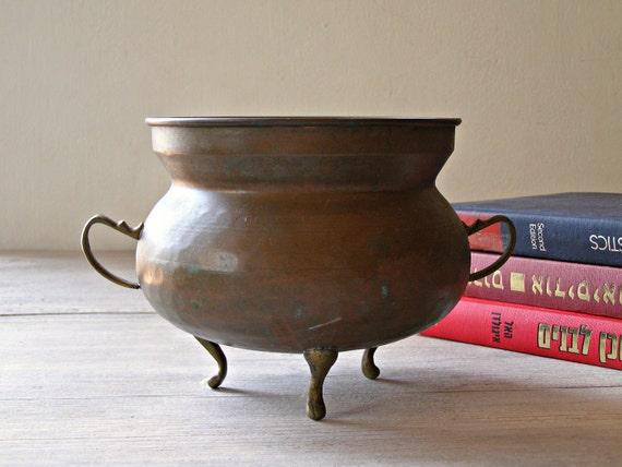 Vintage copper Bowl, brown metal Vase or planter
