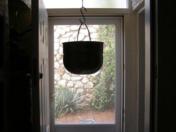 Rustic hanging pot or planter,  Vintage Aluminum Kitchen Pot, Rustic bowl