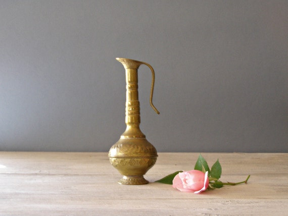 Oriental Copper Pitcher, Rustic bud Vase