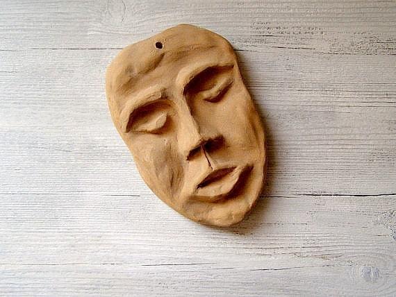 Man's Face Mask, Vintage handmade clay figurine