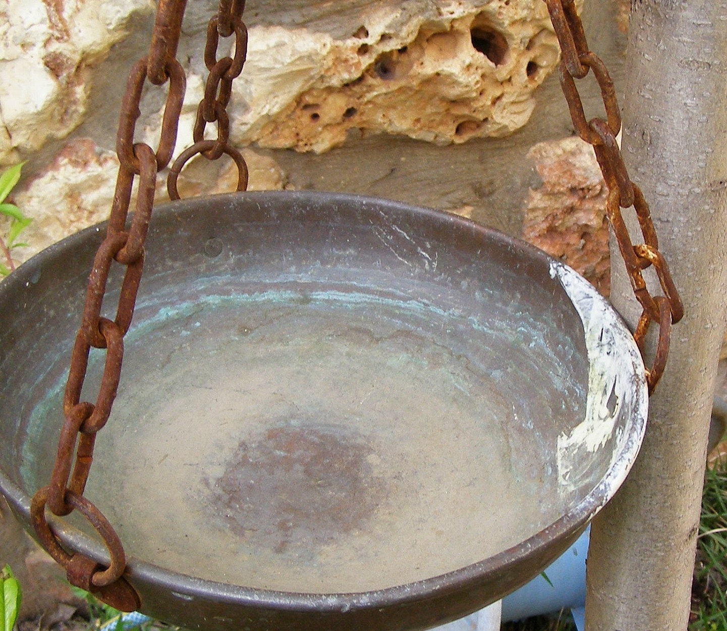Vintage Rustic Planter Copper Hanging Bowl Metal By Meshumash