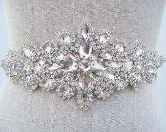 Crystal Bridal Sash, Rhinestone Beaded Sash, Wedding Sash, Bridal Sash, Bridal Belt, Wedding Dress Sash, SparkleSM Bridal Sashes, Shoshanna