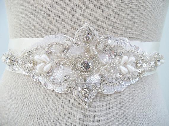 Stunning Crystal For Bridal Sash Rhinestone Bridal Beaded Crystal Rhinestone Applique Beaded Bridal Belt, SparkleSM Bridal Sashes, Marisol
