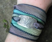 Silk Ribbon Wrap Bracelet - Celtic Spirals - Artisan Handcrafted with Recycled Silver and Hand Dyed Silk