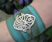 Celtic Heart Wrap Bracelet- Artisan Handcrafted with Recycled Silver and Hand Dyed Silk