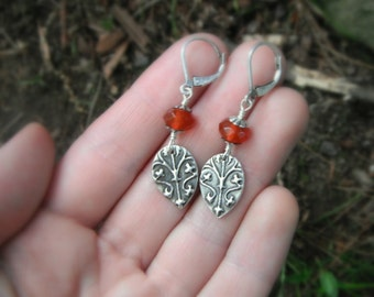 Medieval Carnelian Earrings-Handcrafted with Recycled Fine Silver