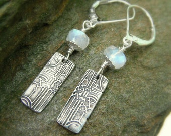 Cathedral Moonstone Earrings-Handcrafted with Recycled Fine Silver