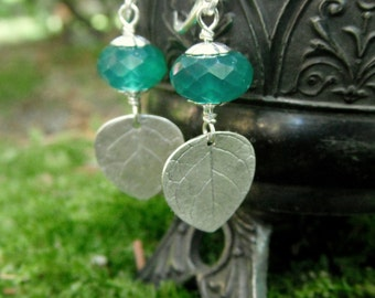 Leaf and Green Onyx Earrings - Made with Real Leaves - Silvan Leaves - Botanical Jewelry - Handcrafted with Recycled Fine Silver