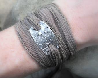 Yoga Jewelry - Ginkgo Bracelet - Silk Wrap Bracelet - Artisan Handcrafted- Recycled Fine Silver - Eco Friendly - Silver & Silk Wrap Bracelet