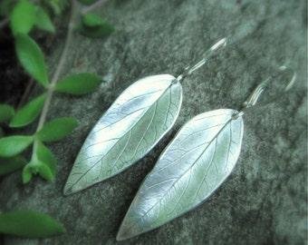 Leaf Earrings - Made with Real Leaves - Handcrafted with Recycled Fine Silver - Silvan Leaves