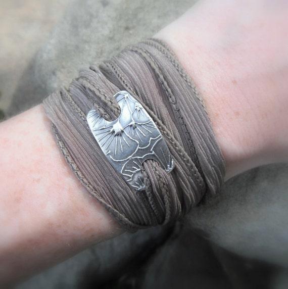 Yoga Jewelry, Ginkgo Bracelet, Wrap Bracelet- Artisan Handcrafted- Recycled Fine Silver-  Silver & Silk Wrap Bracelet-