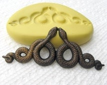 Two snakes mold/mould -  resin, scrapbooking, wax