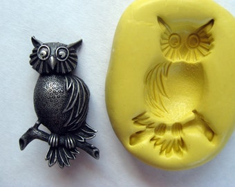 LARGE OWL  -  non-toxic flexible silicone mold for jewelry making, FIMO, Sculpey, wax, soap..