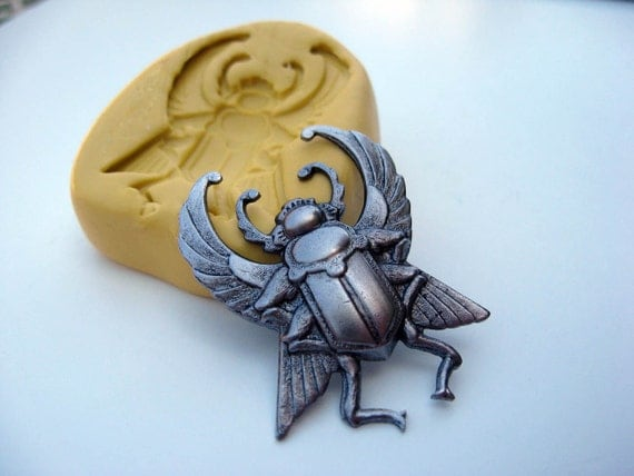EGYPTIAN SCARAB with wings -  silicone mold for jewelry making, FIMO, Sculpey, wax etc.