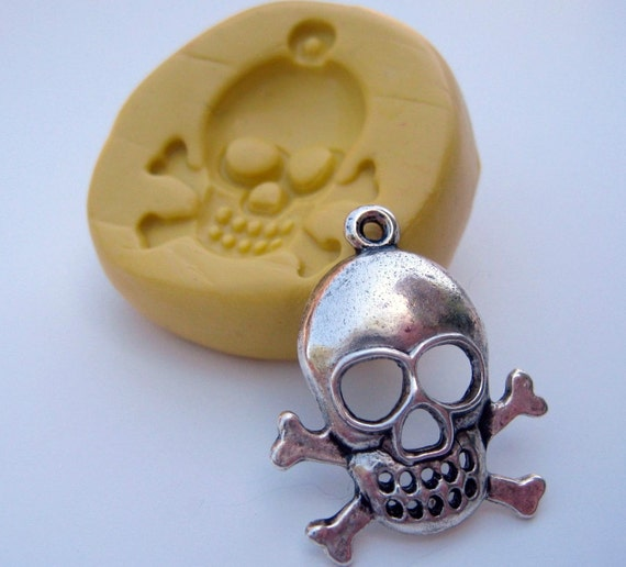 Skull with crossbones flexible silicone push mold for polymer clay, resin, chocolate, fondant and other