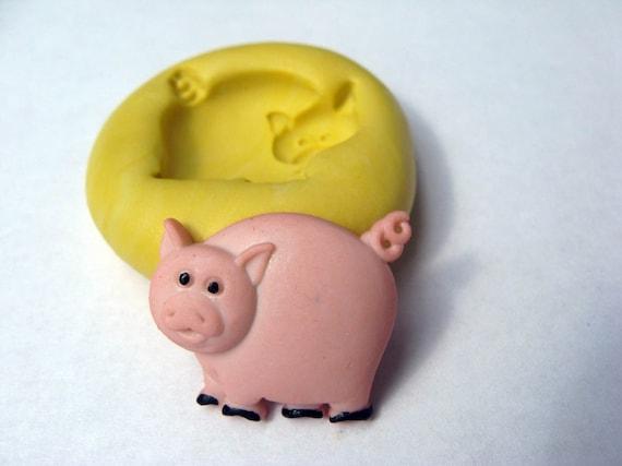PIG Push Mold Farm animal Food Grade Quality non-toxic flexible silicone push mold  mould for cake decor, ice, FIMO, clay, soap etc