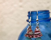 Upcycled Droplet Earrings, pale blue/rust (made from bottle tops)