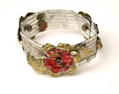 Upcycled Bangle with hand-crafted flowers, in gold, silver and red