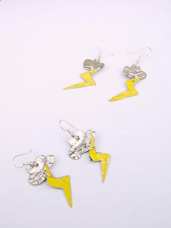 Upcycled Lightening Storm Earrings