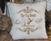 The Tea Room and Bakery Sign Words Tea pots Text Teapot Digital Image Download for transfer Tote Tea Towels Burlap No. 2264 SEPIA