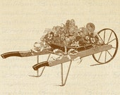 Antique Wheelbarrow Flowers Floral Garden Digital Image Download Sheet Transfer To Pillows Totes Tea Towels Burlap No. 2471 SEPIA