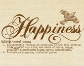 Definition HAPPINESS Word Typography Digital Image Download Transfer To Pillows Totes Tea Towels Burlap No. 2482 SEPIA