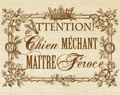 Beware Dog Nasty Master Ferocious French Words Crown Digital Image Download Sheet Transfer To Pillows Totes Tea Towels Burlap No.2625 Sepia