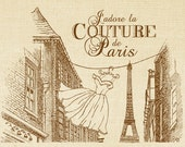 Digital Download Collage Burlap Fabric I Adore Paris Couture French Text Typography Paris Fashion Iron On Pillows Tote Tea Towels 2663 SEPIA