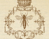 QUEEN BEE Ornate Frame CROWN Digital Collage Sheet Download Burlap Fabric Transfer Bees Iron On Pillows Tote Tea Towels No. 1361 SePIA