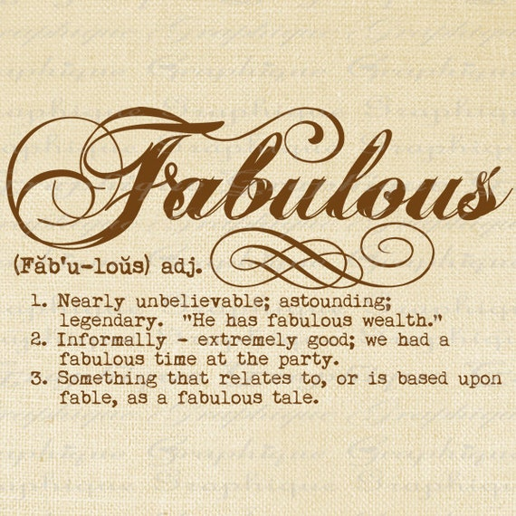 Items Similar To Definition Fabulous Word Typography