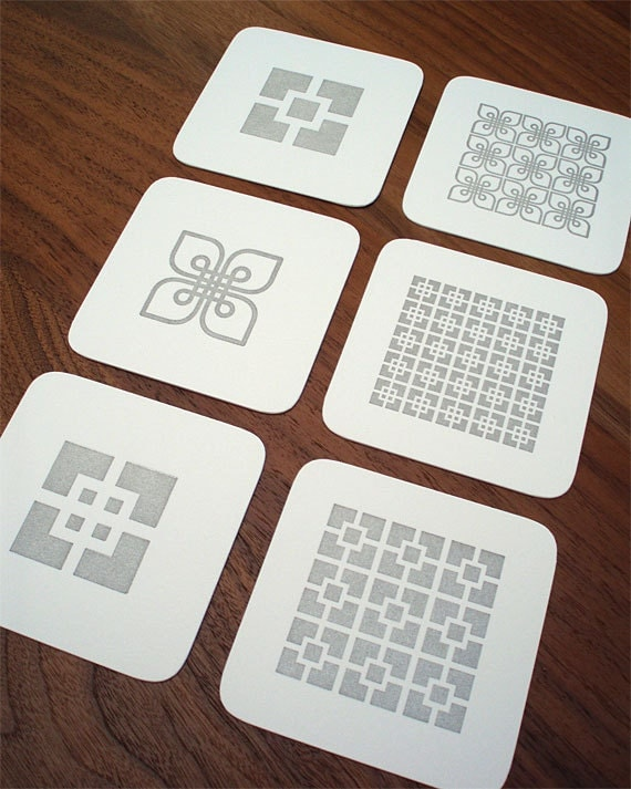 Letterpress Coasters - Architectural Block Series