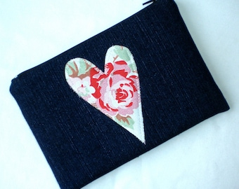 Handmade Make-up bag/Cosmetic bag/Pencil case. Blue Denim with Cath Kidston fabric.