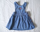 vintage DENIM HEALTH-TEX Greta Dress Floral Embroidered (3t)