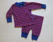 vintage kids 2-PIECE STRIPED HIPSTER Pjs Red Blue 0/6 Months
