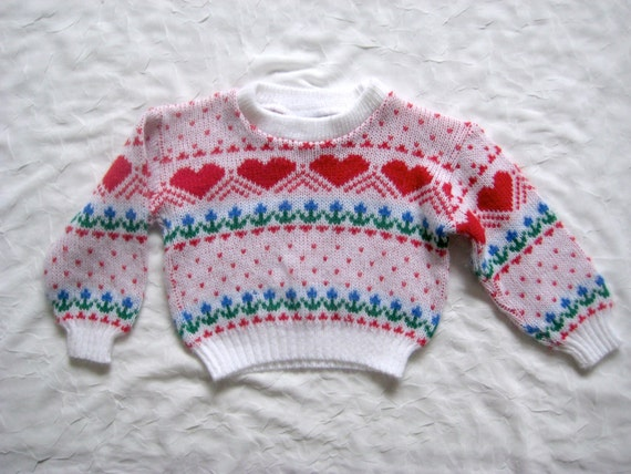 vintage HIPSTER HEART SWEATER White Red Dots Floral (18m)