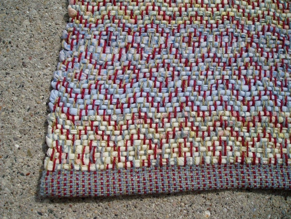 rag rug woven in diamonds with wool and cotton