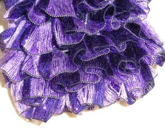 Ruffled Ribbon Scarf in Deep Purple and Lavender with Plum Metallic Accents