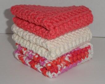 Crocheted Cotton Washcloths Dishcloths Set of 3 Tangerine, Ecru & Candy Stripe