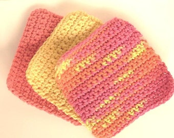 Childs Crocheted Cotton Washcloths Set of 3 in Tangerine, Sunshine Yellow & Citrus Multi
