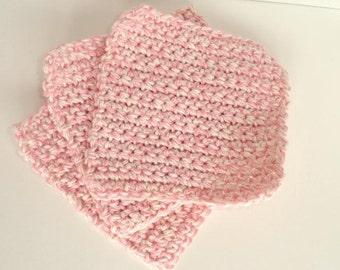 Childs Crocheted Cotton Washcloths Set of 3 in Soft Pink & Ecru Twist